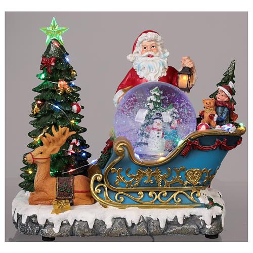 Traîneau Père Noël boule à neige mouvement lumières musique 25x30x20 cm 2