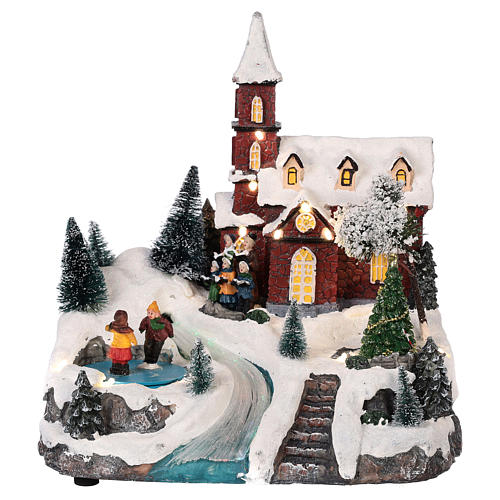 Christmas village church with moving elements, lights and music 30x25x20 cm 1