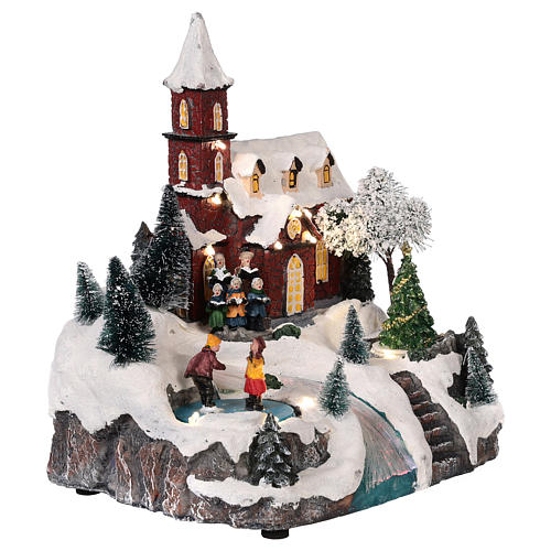 Christmas village church with moving elements, lights and music 30x25x20 cm 4