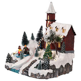 Animated Christmas village with church movement lights music 30x25x20 cm s3