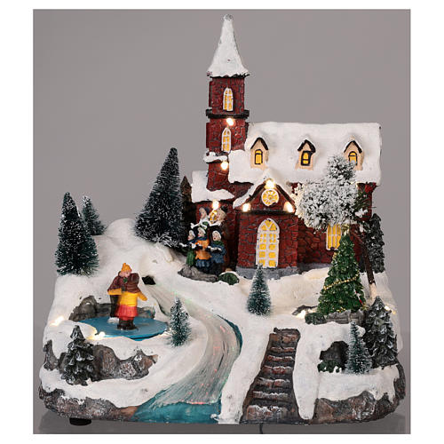 Animated Christmas village with church movement lights music 30x25x20 cm 2