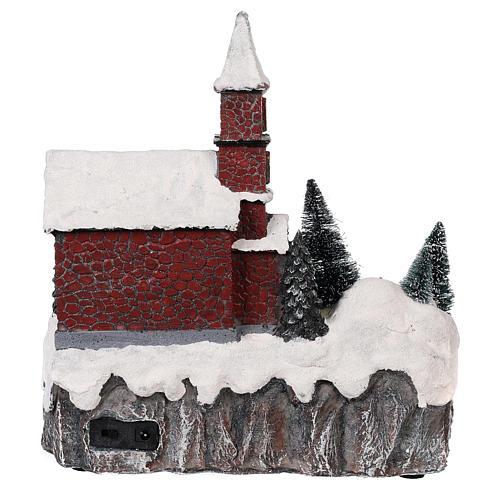 Animated Christmas village with church movement lights music 30x25x20 cm 5
