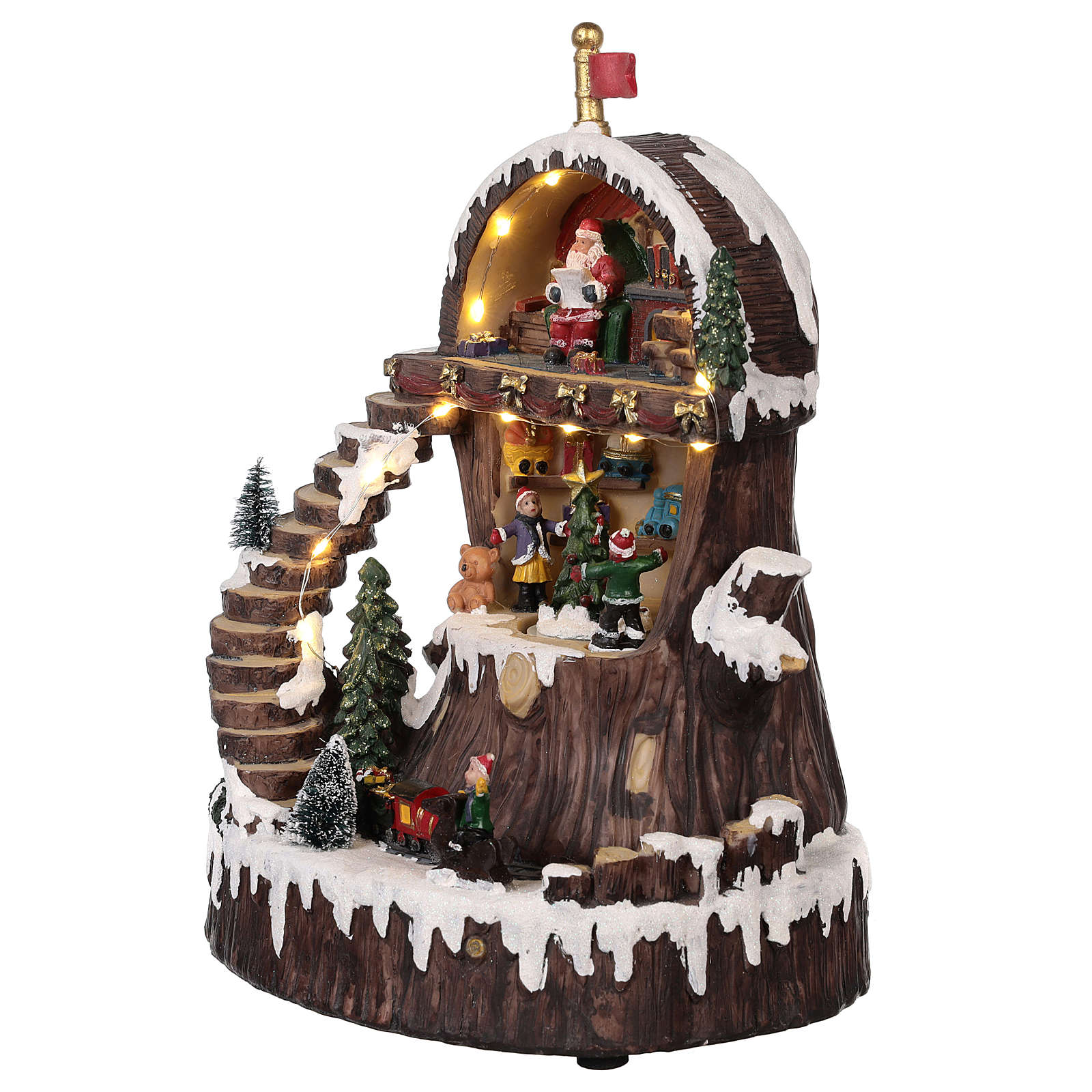 Christmas village Santa's Home with moving elements, lights and music 30x25x20 cm 3