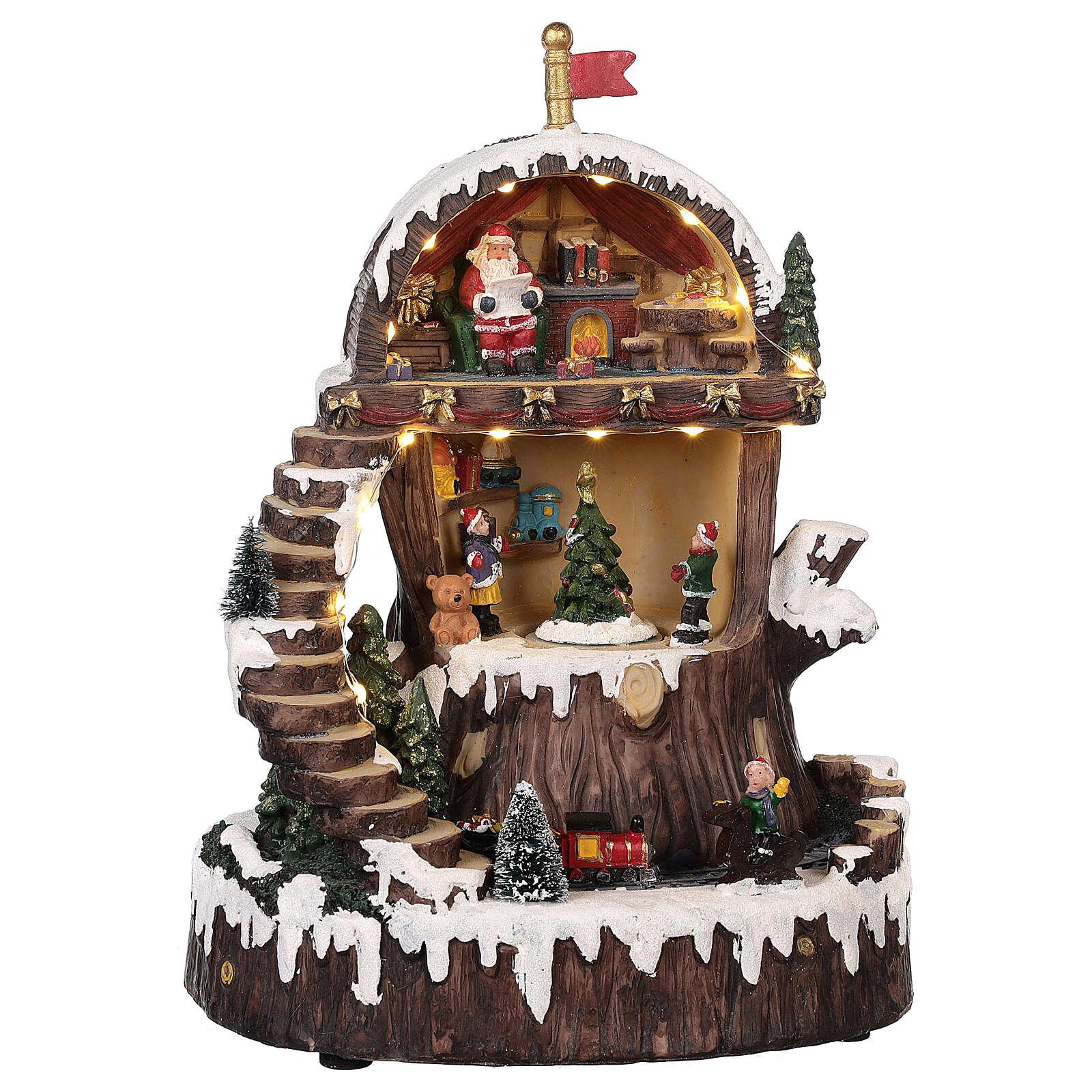 Pueblo navideño con Papá Noel movimiento luz música 30x25x20 3