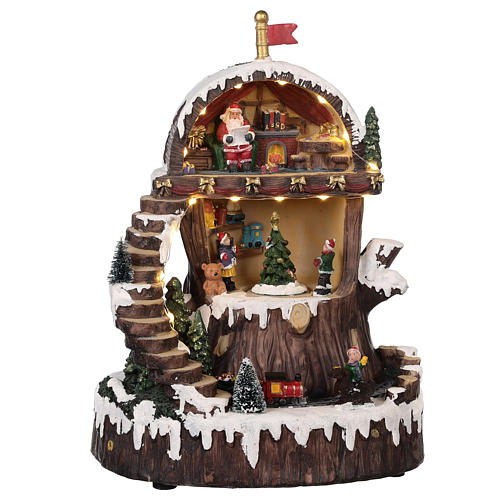 Pueblo navideño con Papá Noel movimiento luz música 30x25x20 1