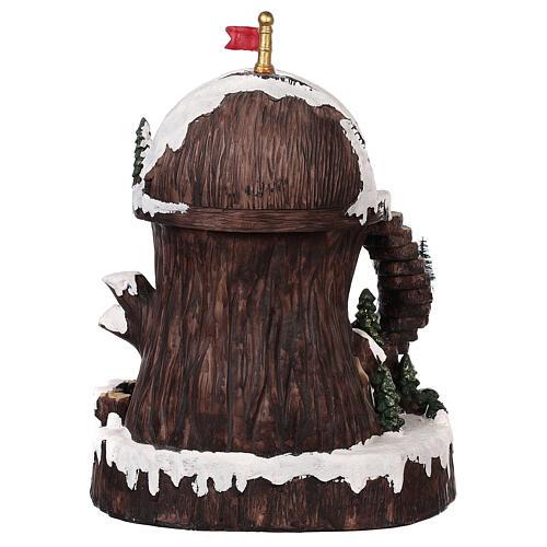 Pueblo navideño con Papá Noel movimiento luz música 30x25x20 5