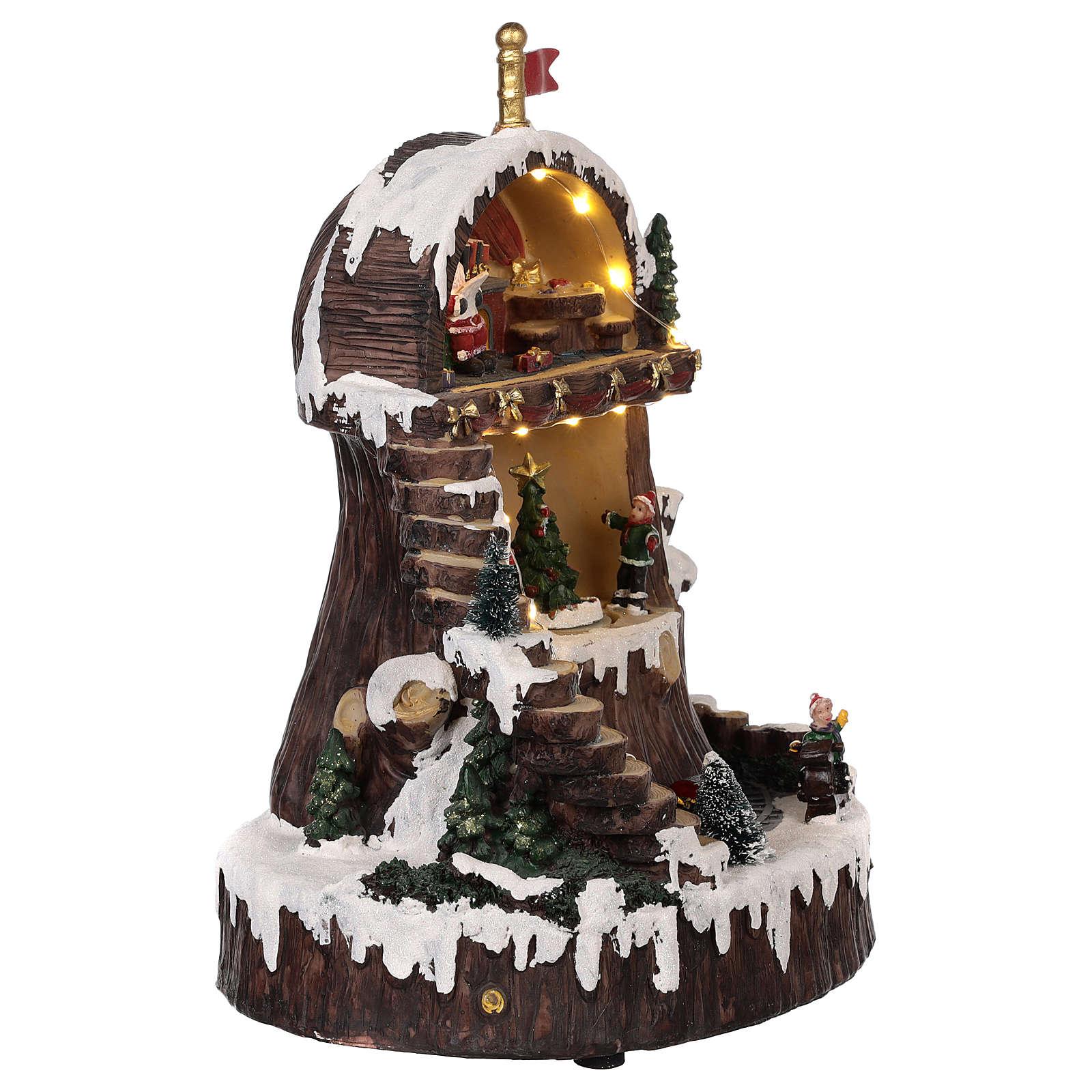 Village de Noël avec Père Noël mouvement lumières musique 30x25x20 cm 3