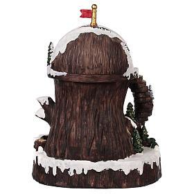 Village de Noël avec Père Noël mouvement lumières musique 30x25x20 cm s5