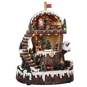 Cenários Natalinos em Miniatura: Cenário de Natal com Pai Natal movimento luzes música 30x25x20 cm