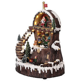 Christmas village with Santa Claus animated lights music 30x25x20 cm s3