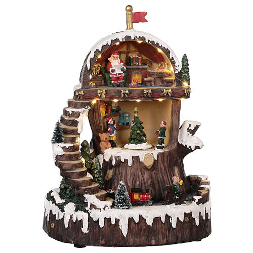 Christmas village with Santa Claus animated lights music 30x25x20 cm 1