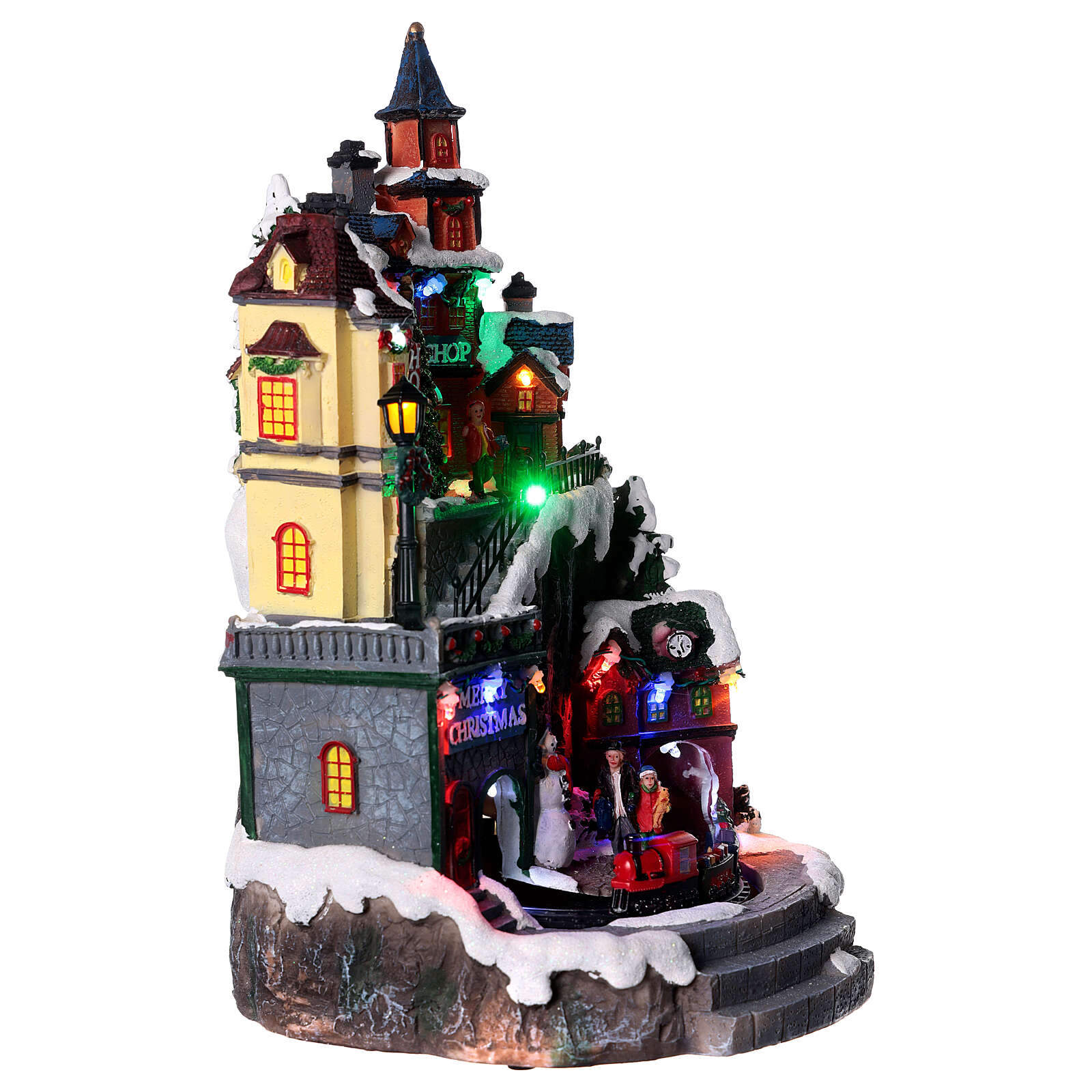 Miasteczko bożonarodzeniowe ze sklepami ruchem oświetleniem i melodyjką 35x20x20 cm 3
