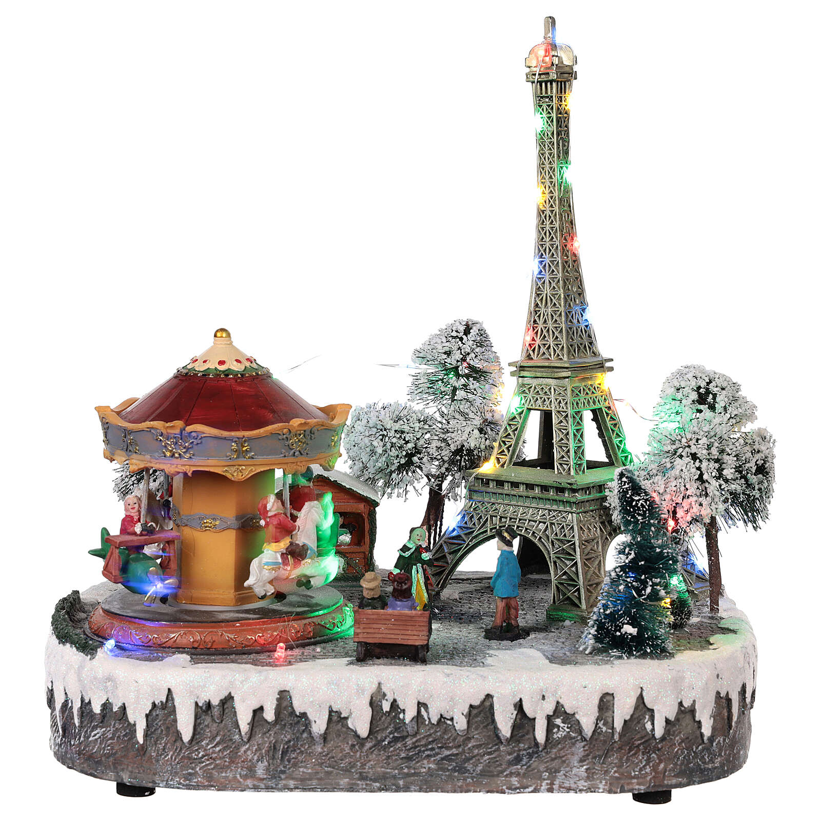 Christmas village Paris, moving elements, light and music 30x30x25 cm 3