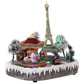 Christmas village Paris, moving elements, light and music 30x30x25 cm s4