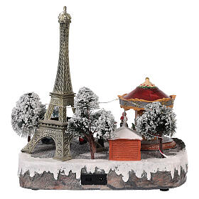 Christmas village Paris, moving elements, light and music 30x30x25 cm s5