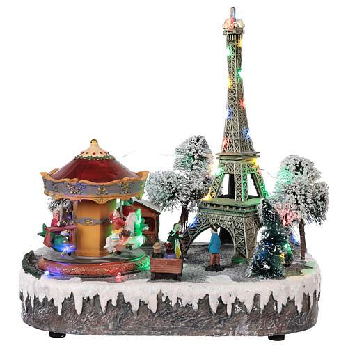 Christmas village Paris, moving elements, light and music 30x30x25 cm 1