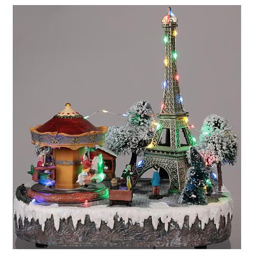 Christmas village Paris, moving elements, light and music 30x30x25 cm 2