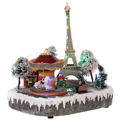 Christmas village Paris, moving elements, light and music 30x30x25 cm 4