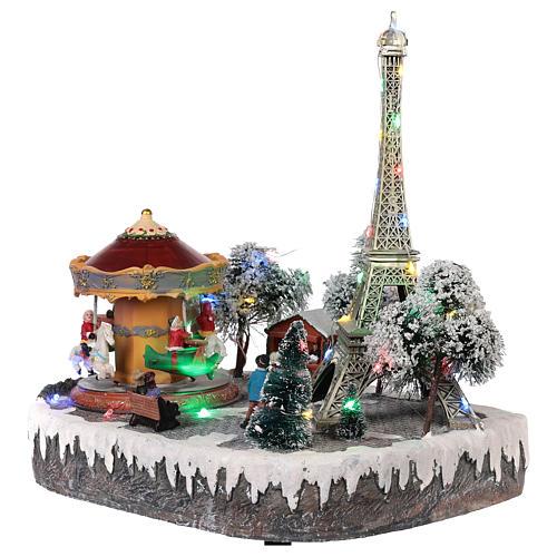 Pueblo navideño París movimiento luz música 30x25x20 3