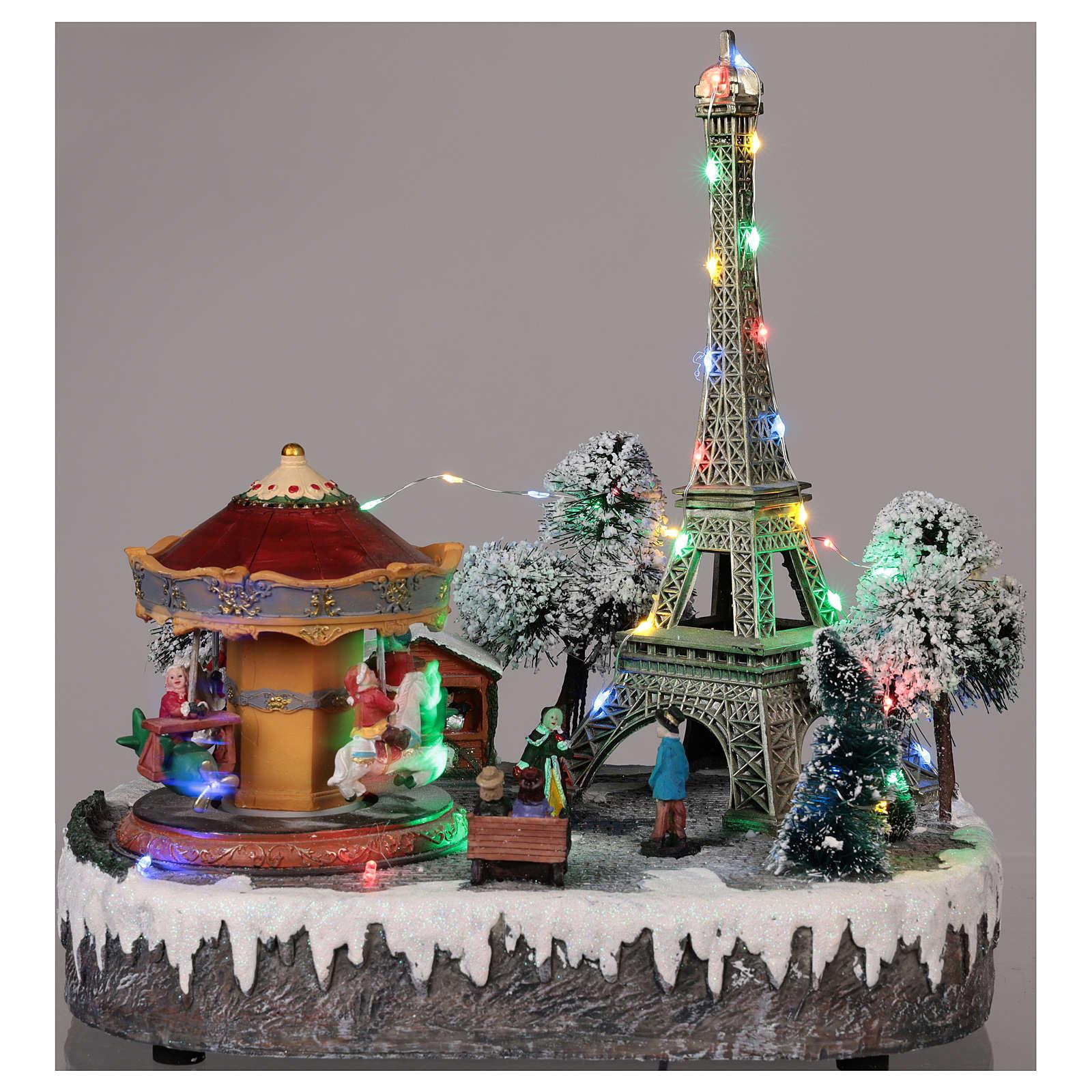 Cenário de Natal Paris movimento luzes música 30x30x25 cm 3