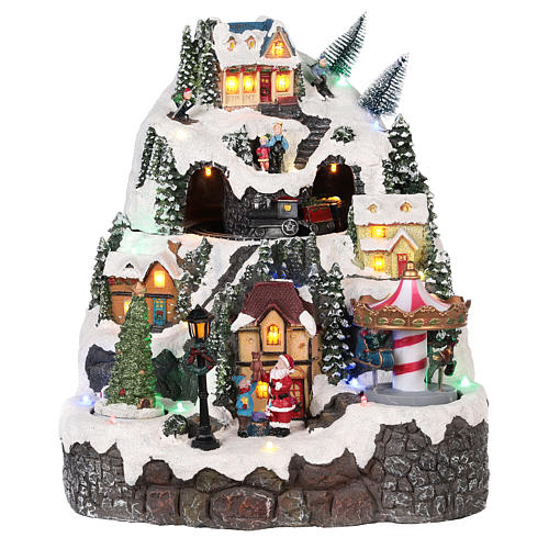 Christmas village, snowed mountain and carousel with movements, lights and music 50x40x15 cm 1