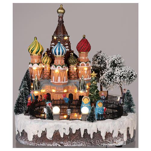 Pueblo navideño Moscú movimiento luz música 30x25x30 cm 2