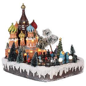 Villaggio natalizio Mosca movimento luce musica 30x25x30 cm s4