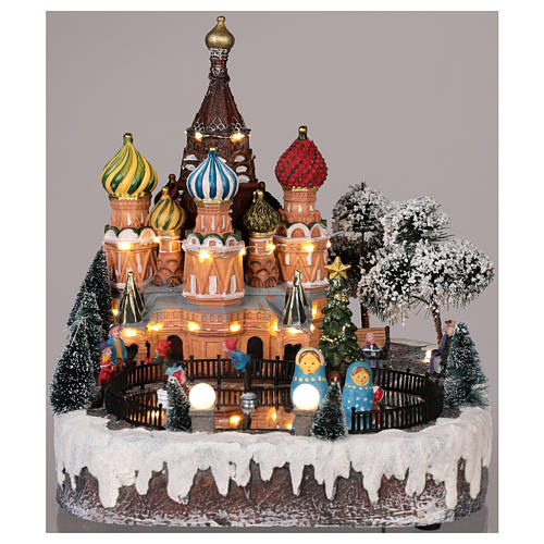 Villaggio natalizio Mosca movimento luce musica 30x25x30 cm 2