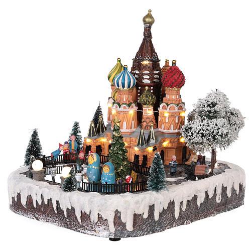 Villaggio natalizio Mosca movimento luce musica 30x25x30 cm 3