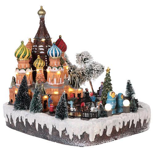 Villaggio natalizio Mosca movimento luce musica 30x25x30 cm 4