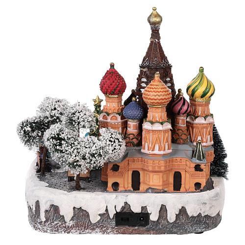 Villaggio natalizio Mosca movimento luce musica 30x25x30 cm 5
