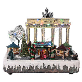 Christmas village Berlin with moving elements, lights and music 25x20x25 cm s1