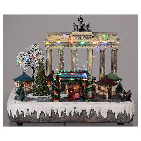Christmas village Berlin with moving elements, lights and music 25x20x25 cm s2