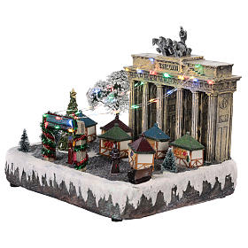Christmas village Berlin with moving elements, lights and music 25x20x25 cm s3