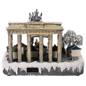 Christmas village Berlin with moving elements, lights and music 25x20x25 cm s5