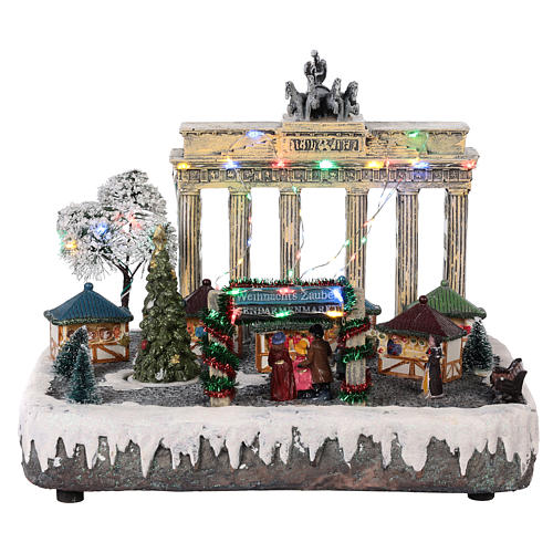 Christmas village Berlin with moving elements, lights and music 25x20x25 cm 1