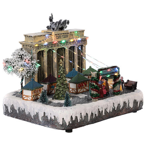 Christmas village Berlin with moving elements, lights and music 25x20x25 cm 4