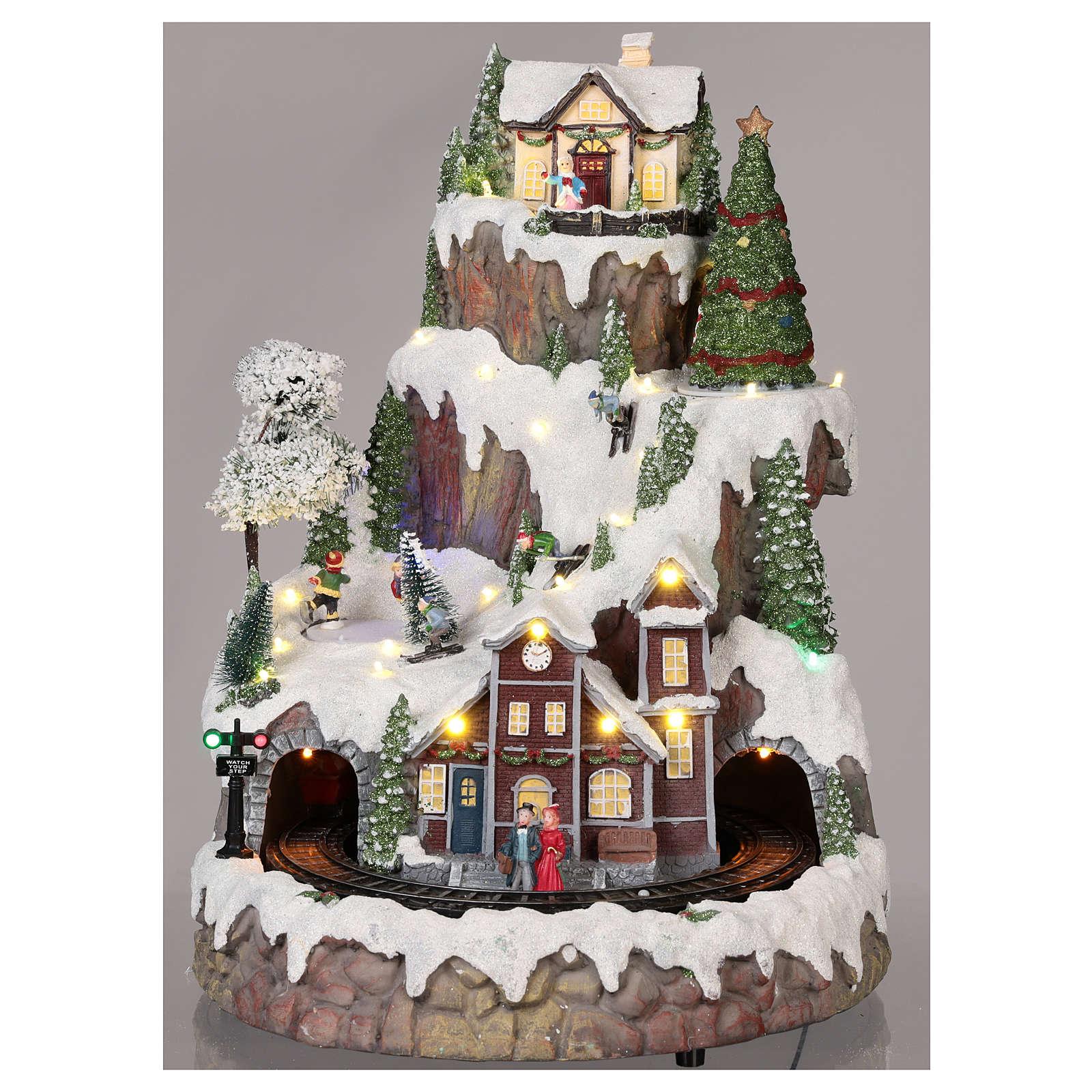 Village Noël montagne neige train mouvement lumières musique 35x45x35 cm 3