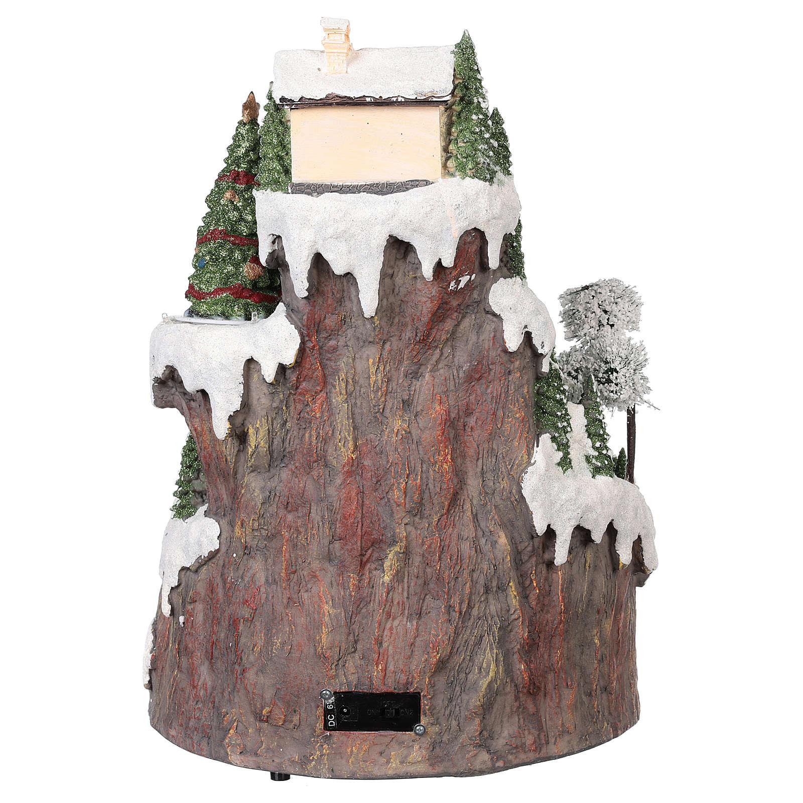 Villaggio Natale montagna neve treno mov luce musica 35x45x35 3