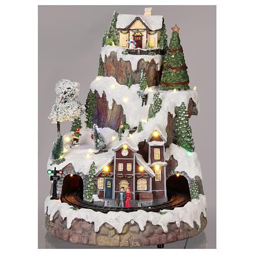 Villaggio Natale montagna neve treno mov luce musica 35x45x35 2