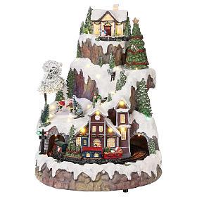 Cenários Natalinos em Miniatura: Cenário de Natal montanha nevada com trem movimento luzes música 35x45x35 cm