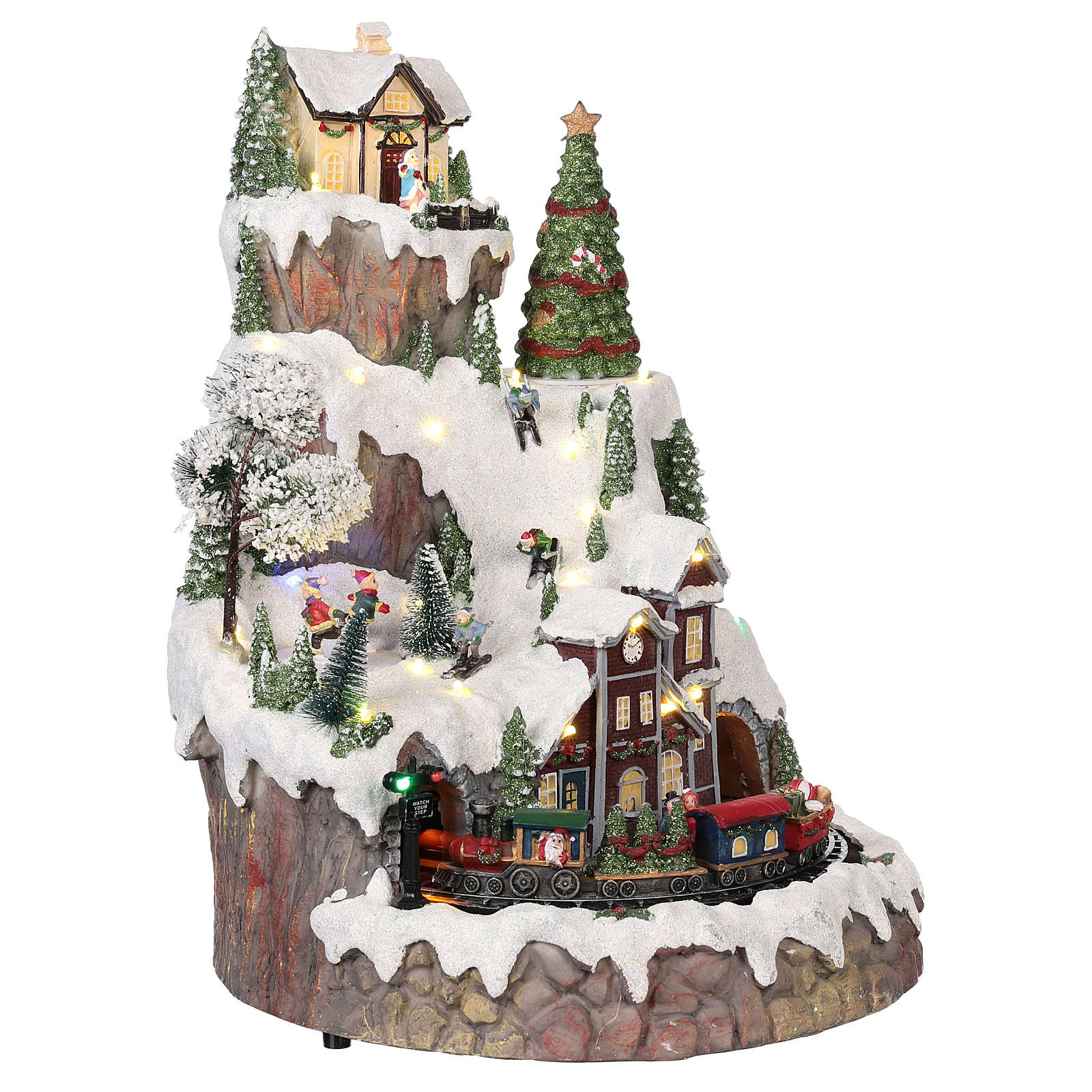 Mountain Christmas village with snow train motion lights music 35x45x35 cm 3