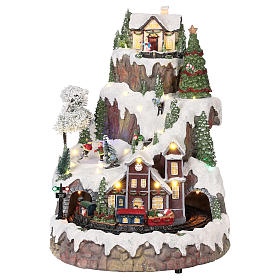 Mountain Christmas village with snow train motion lights music 35x45x35 cm s1