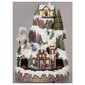 Mountain Christmas village with snow train motion lights music 35x45x35 cm s2