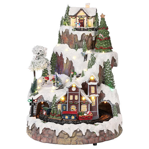 Mountain Christmas village with snow train motion lights music 35x45x35 cm 1