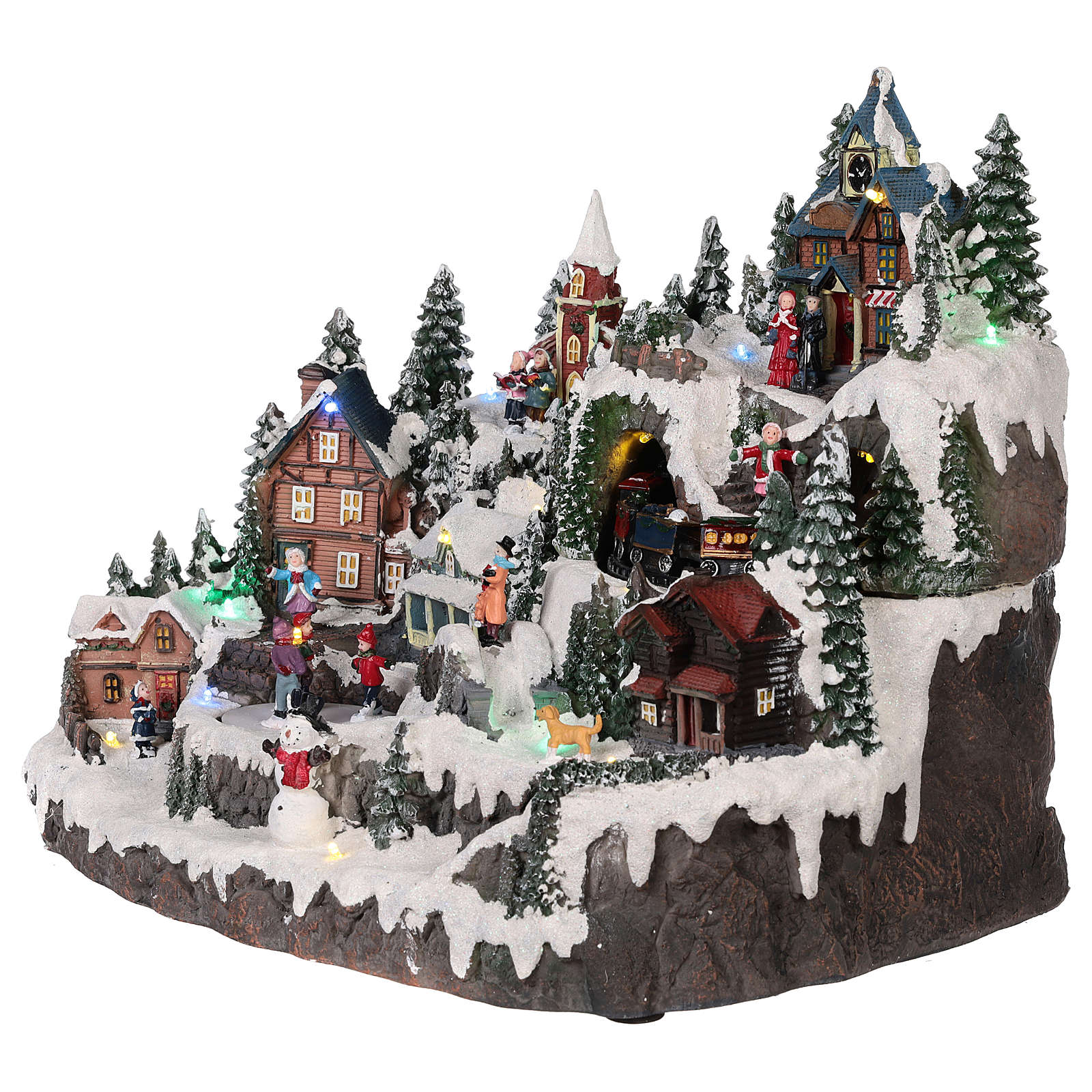 Christmas village with moving elements, lights and music 40x30x30 cm 3
