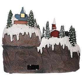 Christmas village with moving elements, lights and music 40x30x30 cm s5