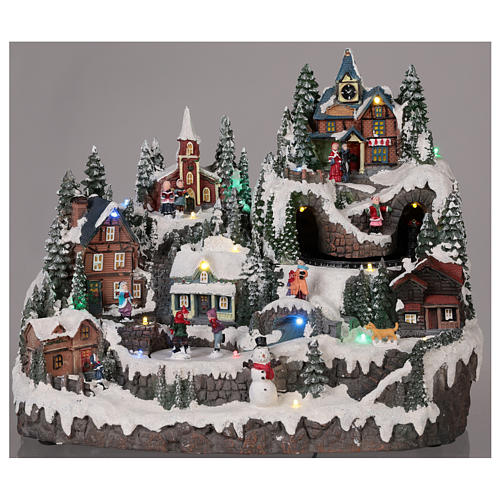 Christmas village with moving elements, lights and music 40x30x30 cm 2