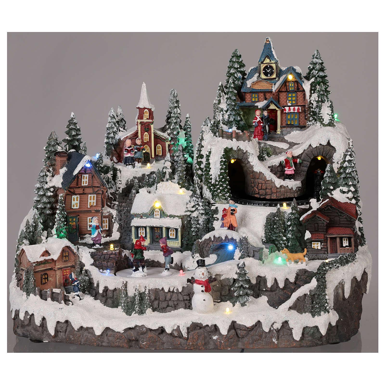 Village Noël piste de patinage manège mouvement lumières musique 40x30x30 cm 3