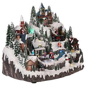 Village Noël piste de patinage manège mouvement lumières musique 40x30x30 cm s4